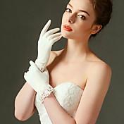 guante de novia de raso elástico guantes de novia longitud clásica estilo femenino