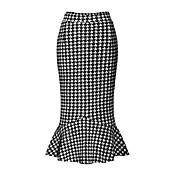 婦人向け ストリートファッション ミディ スカート,ポリエステル / スパンデックス マイクロエラスティック