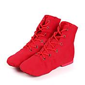 レディース ジャズ ダンスブーツ キャンバス ブーツ スニーカー 初心者用 ダンスパフォーマンス ローヒール ホワイト ブラック レッド 2cm オーダーメイド可