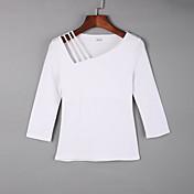 De las mujeres Simple Casual/Diario Otoño Camiseta,Escote Cuadrado Un Color Manga Larga Algodón Rojo / Blanco / Negro / Verde / Amarillo