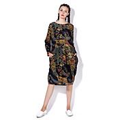 Mujer Boho Corte Ancho Vestido - Estampado Midi