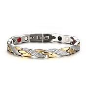 Homens Pulseiras em Correntes e Ligações Moda Personalizado bijuterias Aço Inoxidável Prata Chapeada Chapeado Dourado Formato Circular