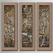 Pintada a mano Abstracto / Naturaleza muerta / Fantasía / Floral/Botánico Pinturas de óleo,Modern / Realismo / Estilo europeo Tres Paneles