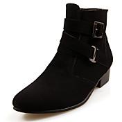 Hombre-Tacón Bajo-Confort Botas a la Moda-Botas-Informal-PU-Negro Marrón Gris