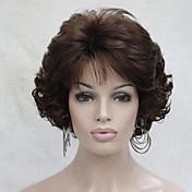Mujer Pelucas sintéticas Sin Tapa Corto Rizado Castaño rojizo Raya en medio Con flequillo Pelucas sin tapa Las pelucas del traje