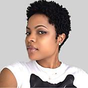 Mujer Pelo humano pelucas sin tapa Negro Corto Ondulado Corte Pixie Peluca afroamericana