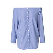 婦人向け ワーク 秋 シャツ,シンプル シャツカラー ソリッド ブルー / ホワイト コットン 長袖 薄手