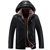 メンズ カジュアル/普段着 冬 コート,シンプル フード付き ソリッド レギュラー フェイクファー 長袖 ファートリム