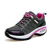 Mujer Zapatos PU Primavera / Otoño Confort Zapatillas de Atletismo Tacón Plano Dedo redondo Con Cordón Gris / Morado / Fucsia