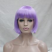 Kvinder Syntetiske parykker Lågløs Glat Lilla Bob frisure Cosplay Paryk kostume Parykker