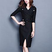 Mujer Corte Bodycon Vestido Casual/Diario / Tallas Grandes Vintage,Un Color Escote en Pico Hasta la Rodilla 3/4 Manga Negro PoliésterPara
