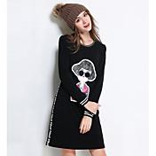 Feminino Reto Vestido,Happy-Hour / Casual / Tamanhos Grandes Simples / Fofo / Moda de Rua Sólido / Patchwork Decote RedondoAcima do