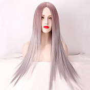 女性 人工毛ウィッグ ロング丈 非常に長いです ストレート グレイ オンブレヘア ミドル部 ナチュラルウィッグ ハロウィンウィッグ カーニバルウィッグ コスチュームウィッグ