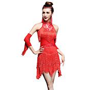 ラテンダンス ドレス ショーツ 女性用 ダンスパフォーマンス ナイロン ノースリーブ ハイウエスト ドレス グローブ