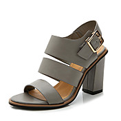 Mujer Zapatos PU Primavera / Verano Gladiador Sandalias Tacón Cuadrado Puntera abierta Hebilla Blanco / Negro / Gris / Fiesta y Noche