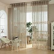 グロメットトップ ワンパネル ウィンドウトリートメント 欧風, 中空デザイン ベッドルーム ポリエステル 材料 シアーカーテンシェード ホームデコレーション
