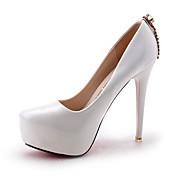 女性用 靴 レザーレット PUレザー 春 夏 ヒール スティレットヒール プラットフォーム ポインテッドトゥ クリスタル チェーン のために 結婚式 カジュアル パーティー ホワイト ブラック