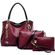 Mujer Bolsos PU Conjuntos de Bolsa 3 piezas de monedero conjunto para Casual Todas las Temporadas Azul Rosa Wine Azul Claro Gris oscuro