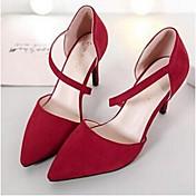 Mujer Zapatos Vellón PU Primavera Confort Tacones Para Casual Negro Rojo