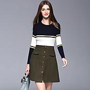 女性 カジュアル/普段着 セット スカート スーツ,シンプル ラウンドネック ストライプ ブルー / グリーン コットン 長袖