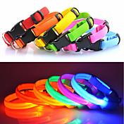 Gato / Perro Cuello Luces LED / Ajustable / Retractable Un Color Nailon Azul / Rosa / Arco iris