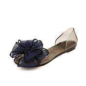 Mujer Zapatos PVC Verano Confort Sandalias Tacón Plano / Talón translúcido Flor Blanco / Negro