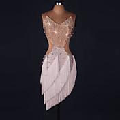 Baile Latino Vestidos Mujer Rendimiento Licra Cristales/Rhinestones Borla Sin Mangas Cintura Media Vestido