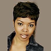 Mujer Pelo humano pelucas sin tapa Negro Corto Ondulado Corte Pixie Corte a capas Con flequillo Peluca afroamericana