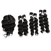 Trama del pelo con cierre Cabello Hindú Ondulado Medio 12 meses 7 Piezas los tejidos de pelo
