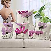 Funda de almohada 5pcs algodón / lino, floral moderno / contemporáneo de alta calidad