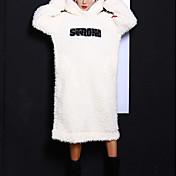 女性 キュート カジュアル/普段着 シフト ドレス,ソリッド スタンド ミディ 長袖 ホワイト ポリエステル 秋 冬 ミッドライズ 伸縮性あり ミディアム