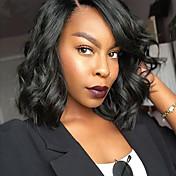 Mujer Pelucas sintéticas Sin Tapa Medio Marino Negro Azabache Peluca afroamericana Para mujeres de color Parte lateral Corte Bob Peluca