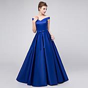 Salón Hasta el Suelo Satén Vestido de Dama de Honor con Cinta / Lazo por LAN TING BRIDE®
