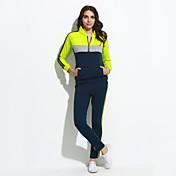 Mujer Tallas Grandes Activewear Deportes Activo Bloques Escote Chino Microelástico Algodón Poliéster Manga Larga Primavera