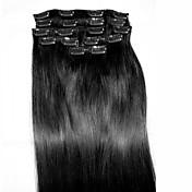 Corte Recto Con Clip Extensiones de cabello humano 8pcs / paquete Negro Azabache Blonde 24 pulgadas