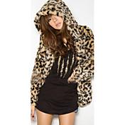 Hætte Langærmet Medium Dame Brun Leopard Vinter Street Casual/hverdag Pelsfrakke,Imiteret pels