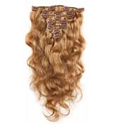 レミの髪本体波完全な頭部のイチゴブロンドの中7aの100%バージン人毛エクステンションクリップ