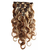7a virgen del 100% extensiones de cabello humano clip en la onda del cuerpo del pelo de Remy de la cabeza a todo color de la mezcla