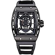 SKONE Hombre Reloj creativo único Reloj de Pulsera Reloj Esqueleto Reloj de Moda Reloj Deportivo Cuarzo Resistente al Agua Luminoso