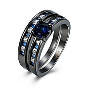 Ring Kvadratisk Zirconium Zirkonium Plastik Titanium Stål Wolfram stål Imitation Diamond Sort Smykker Daglig Afslappet 1 Stk.