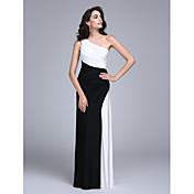 Funda / Columna Un Hombro Hasta el Suelo Jersey Evento Formal Vestido con Recogido Lateral por TS Couture®