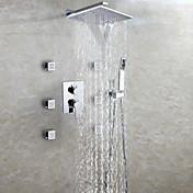 Moderno Colocado en la Pared Cascada Ducha lluvia Alcachofa incluida Válvula Cerámica Dos asas de nueve hoyos Cromo, Grifo de ducha