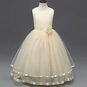 プリンセスフロアの長さフラワーガールのドレス - polysterノースリーブの宝石ネックレスサテンとbflower
