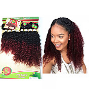 Přírodní vlasy Brazilské vlasy Tónované Kudrnaté Vlny Prodloužení vlasů Jeden díl Black / Burgundy