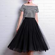 el trabajo de las mujeres que salen de las faldas midi, simple linda calle chic una línea de tul sólido primavera verano
