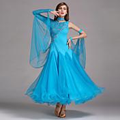 ボールルームダンス ワンピース 女性用 ダンスパフォーマンス スパンデックス レース チュール ドレス