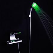 コンテンポラリー バスタブとシャワー 滝状吐水タイプ LED セラミックバルブ 二つ 二つのハンドル二つの穴 クロム, 浴槽用水栓
