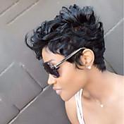 女性 人間の毛のキャップレスウィッグ ブラック ショート丈 ナチュラルウェーブ ピクシーカット レイヤード・ヘアカット バング付き サイドパート ブラックアメリカン風ウィッグ