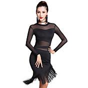 ラテンダンス ワンピース 女性用 演出 チュール プロミックス 2個 長袖 ハイウエスト ドレス ショートパンツ