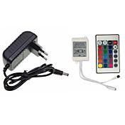 24 teclas de control remoto inalámbrico dc 12v 2a adaptador de fuente de alimentación conector para rgb led tira de cinta flexible de luz